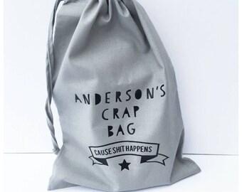 Crap bag, change bage, diaper bag, nappy bag.
