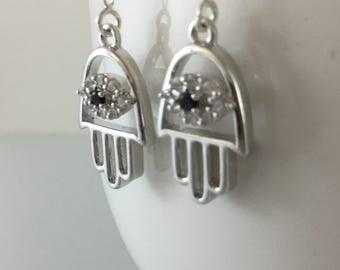 Hamsa threaders/Hamsa hand/Hamsa/Sterling Threader earrings/threaders/Sterling/silver/