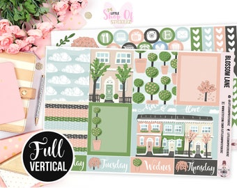 Blossom Lane || EC Vertical Sticker Kit, No White Space Planner Sticker Kit, Spring Stickers, Weekly Planner Stickers, Planner Stickers