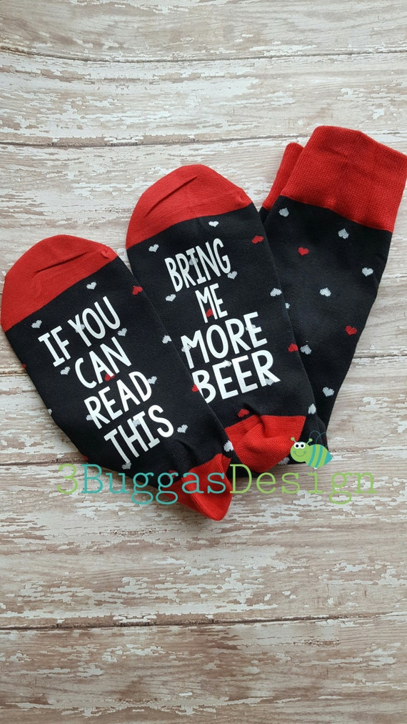 READY to ship!! Bring me a glass of wine socks/Valetines gift/bring me more beer socks/wine socks/funny man socks/gifts for dad/coffee socks