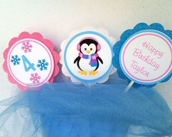 Girl Penguin Cupcake Toppers