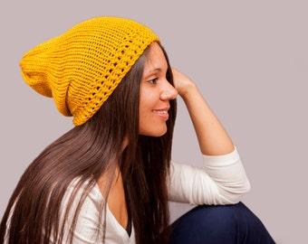 Knit Mustard Yellow Slouchy Beanie