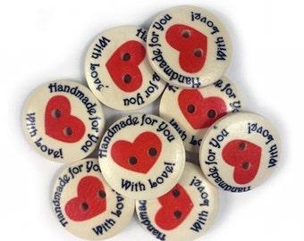 Assortment of 7 buttons decorative Handmade with Love - buttons - button wood - heart 1174788