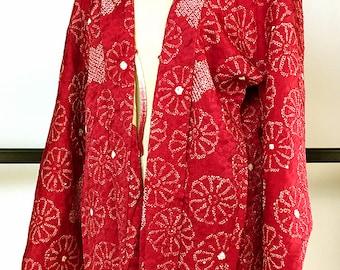 K213 Japanese Wine Red Soshibori Haori Kimono Jacket