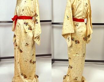 K040 Beautiful Japanese Kyo-Yuzen Beige Komon Kimono Cute