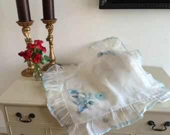 Antique 1900s Brides Dowry Pillowcase Net Tule Exquisite Intricate Ribbon Appliqué Vintage Italian Chic Boutique Home