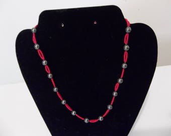 Red and hematite bead necklace
