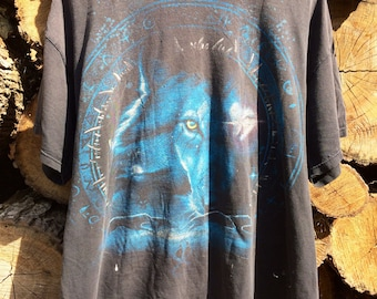 Vintage 90s Thrashed Wolf Shirt Sz XL VERY USED