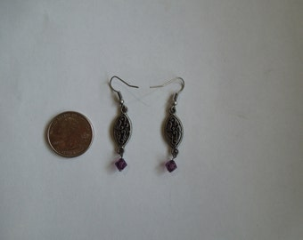 Purple/Gun Metal Drop Earrings
