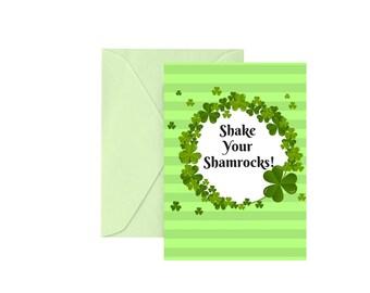 "Funny St. Patrick's Day Card ""Shake Your Shamrocks"" Greeting Card Irish Greeting Card Happy St. Patrick's Day Happy St. Paddy's Day Green"