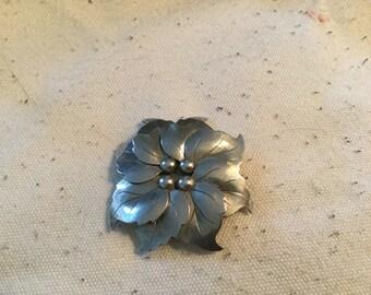 """Hammered Aluminum Flower Brooch/Pin 2"""""""