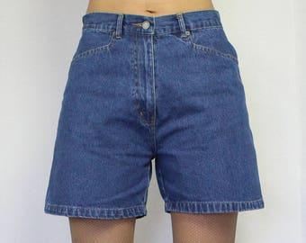 Vintage 90s Women's Shorts Blue Denim Shorts Jeans Shorts High Waisted Shorts Medium Size