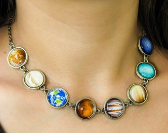 Planet Necklace, Solar System necklace, Space necklace, Universe necklace, Space jewelry, Silver or brass, Glass necklace, Galaxy necklace
