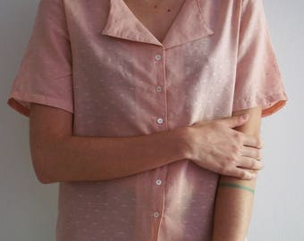Light pink blouse | Baby pink | Pastel pink | Short sleeve blouse | Gift for her | Gift for girlfriend