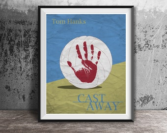 Movie poster print,Cast Away-the movie printable,Alternative movie poster,Minimalistic film art,Tom Hanks,Cast Away,Instant Download,Print