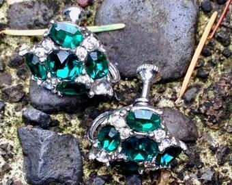 Vintage Bogoff Green and Clear Rhinestone Silver Tone Earrings - Screw Backs