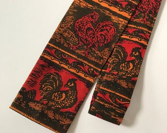 Vintage 60's Retro Rooster Square End Skinny Tie