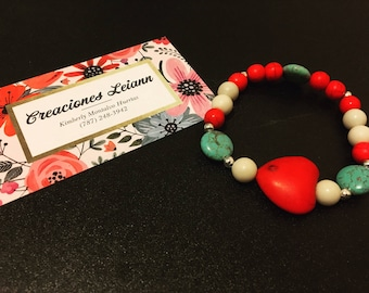 Red Heart & Turquoise beads bracelets