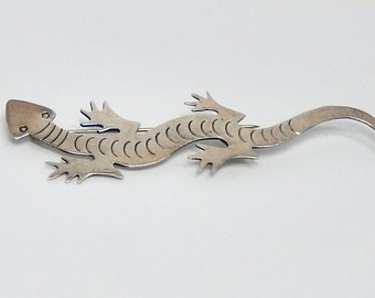 Vintage Sterling Silver Lizard Brooch Hand Crafted Silver Gecko Pin