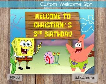 Spongebob Welcome Sign Spongebob Name Birthday Welcome Sign Printable Spongebob Birthday Theme Birthday Sign DIGITAL FILE