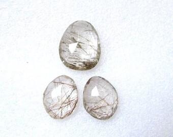 Pair (3 pcs) Natural GOLDEN Rutile, Uneven Rose Cut, Size (20x15.5mm - 1 pcs Or 16x13 mm -2 pcs) Irregular Rose cut,AAA Quality