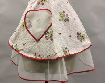 1950s Vintage Apron Reversalbe Heart Organza and Cotton
