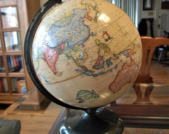 "Vintage Terrestrial Globe by Rand McNally with Beige / Yellow Oceans and Metal Stand, 12"" diameter (c.1977)"