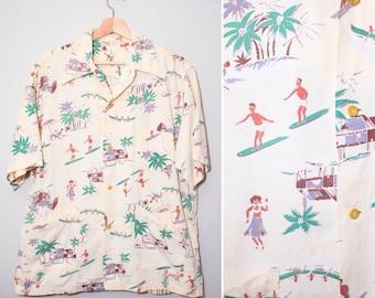 1940s Light Yellow Surfer Hula Girl Print Hawaiian Shirt | Size Large