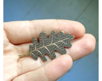 """Brass brooch """"Oak leaf"""""""