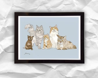 Digital download Cats, digital illustration