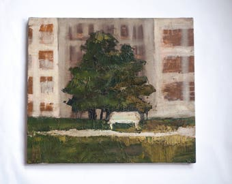 Painting, Oil on Canvas, Urban Landscape, park, empty bench