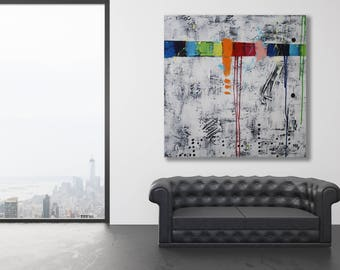 Xl Abstract Painting with Texture / Modern Art / Large Abstract Art / Black and White Modern Art / Texture Painting / Original Art