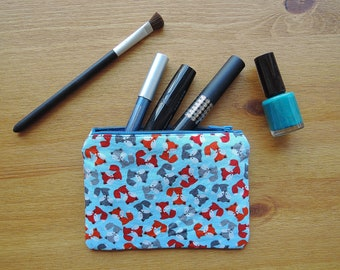 Zipper pouch with handmade foxes