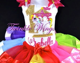 Gold Carousel Unicorn Rainbow Ribbon Tutu 1st 2nd 3rd 4th 5th 6th Birthday Outfit 12M 24M 2T 3T 4T 5T 6T