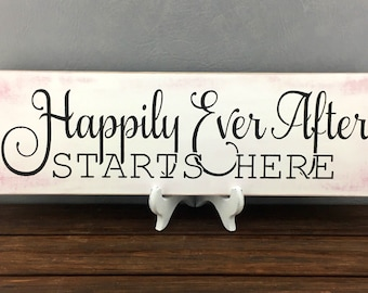 Happily Ever After Starts Here Sign-Rustic Wedding Signs-Boho Wedding