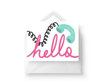 Hello / Set of 10 Note Cards / 4.25 x 5.5