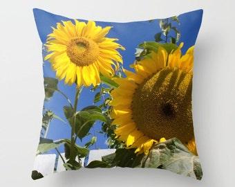 Sunflower Pillow, Flower Pillow, Throw Pillow Cover, Yellow Pillow, Happy Pillow, Sunshine Pillow, Nature Pillow, Toss Pillow, Toss Cushion