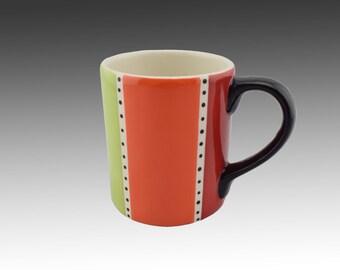 "Coffee mug - Hand painted mug - Ceramic Mugs - Stripes - Colorful Mug - Mugs- Colorful ""Kuqala"" Coffee Mug 12 oz"