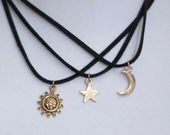 Set of 3 sun, moon and star chokers