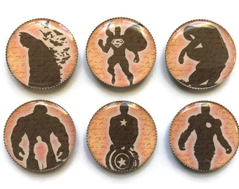 Superhero magnets or Superhero pins, Batman, Superman, Spiderman, Hulk, Captain America, Iron Man