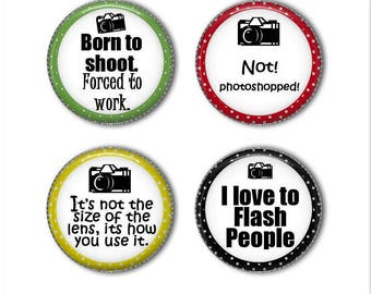 Photography magnets or pins, Photographer magnets or pins, refrigerator magnets, fridge magnets, office magnets  (2)