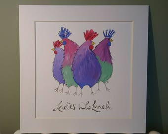Ladies Who Lunch - a gicleé print of chickens with attitude!!
