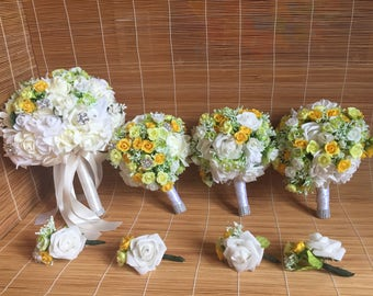 yellow Bridal bouquet, yellow bridesmaid bouquet, maid of honor bouquet, yellow and white bouquet, rose bouquet, yellow rose bouquet