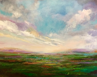 Clouds Sunset Landscape Abstract Palette Knife Painting