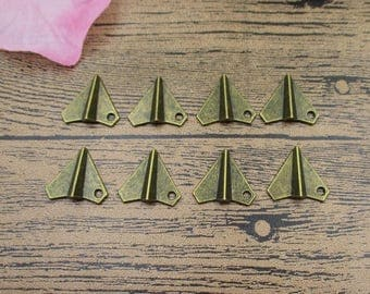 30 Paper Airplane Charms Antique Bronze Tone 3D Charms-RS318