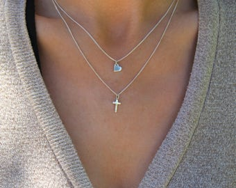 Cross Necklace / Cross Heart necklace set / Sterling silver cross necklace / love heart cross pendant set / layering necklace