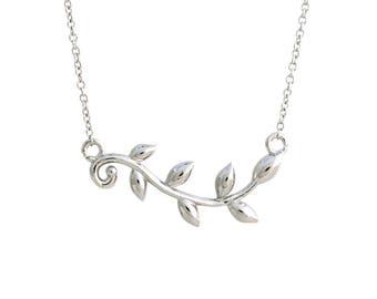 925 Sterling Silver Olive Leaf Branch Necklace
