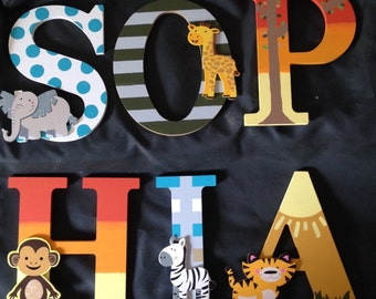 "8"" Wooden Nursery Name Letters-Safari"