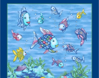R11-9776-0750 THE RAINBOW FISH Panel - Marcus Brothers Fabric, Silver Metallic Fish, Lt. Blue Glitter Fish & Seashells, Quilt Fabric