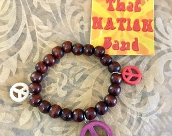 That NATION Band Wooden Bead and Resin Peace Bracelet- Stretch